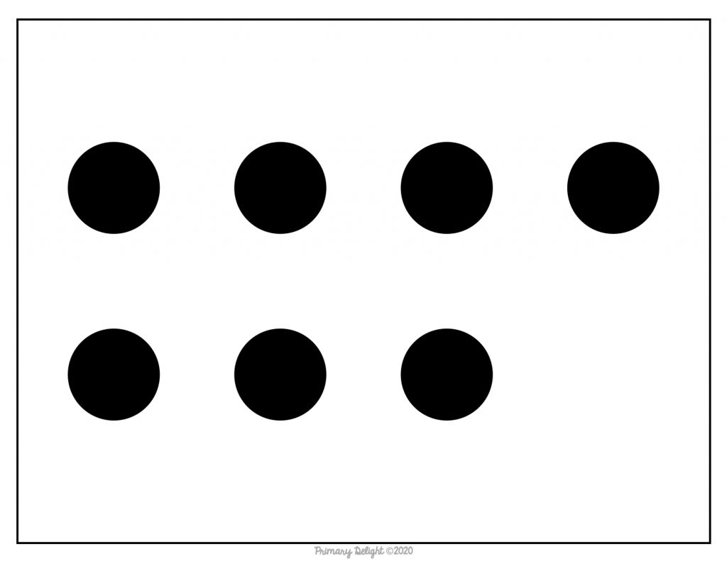 Dot pattern card showing 4 dots on the top row and 3 dots on the bottom.