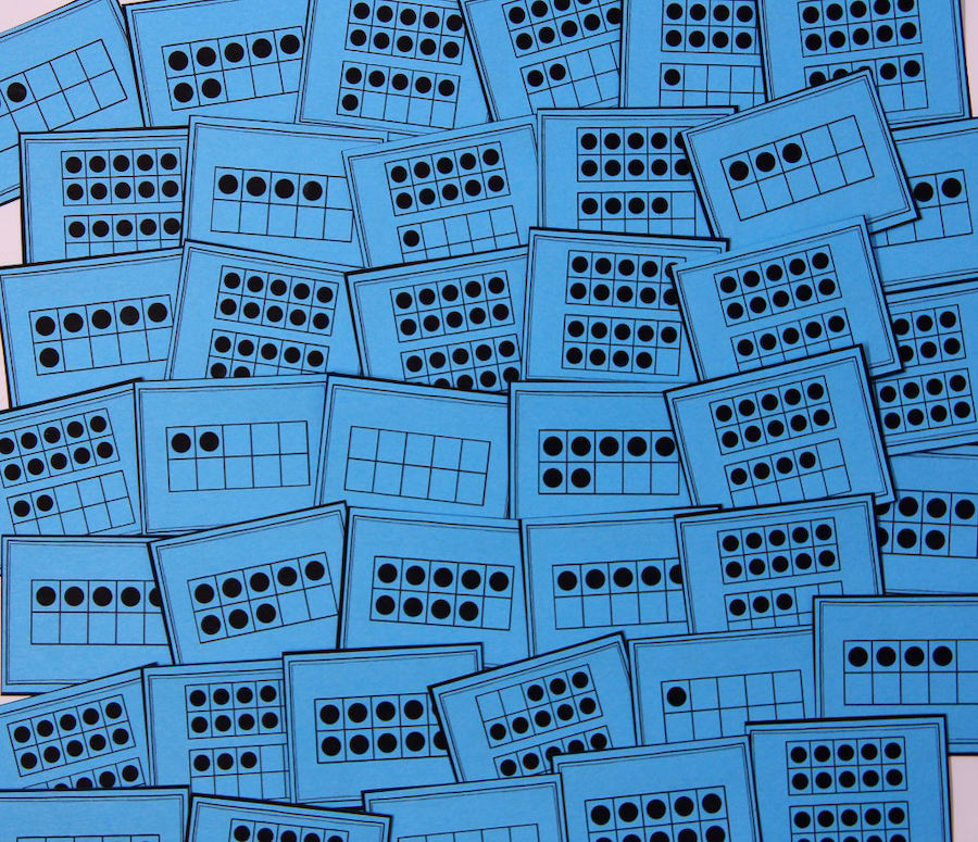Photo of cards with ten-frames only, with numbers up to 20.