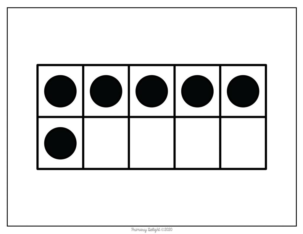 Image of a ten-frame with 5 dots on top and one on the bottom left.