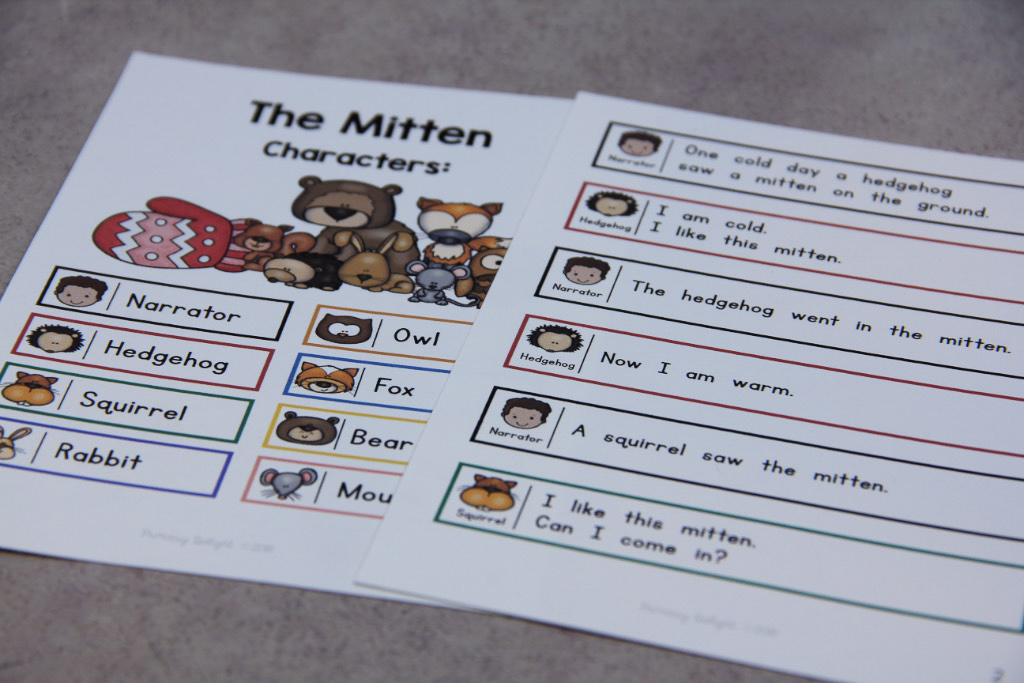 Photo of a readers' theater script for The Mitten.