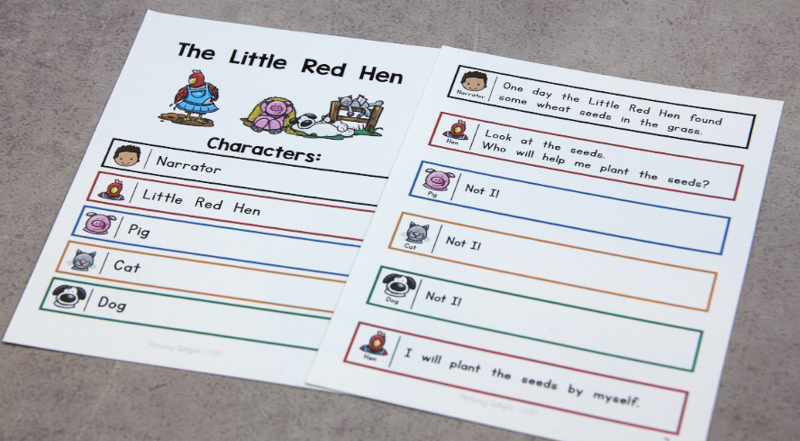 Photo of a script for The Little Red Hen.
