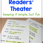 Photo of a readers' theater script with one character's lines highlighted in yellow. Heading says: How to Do Readers' Theater - keeping it simple, but fun