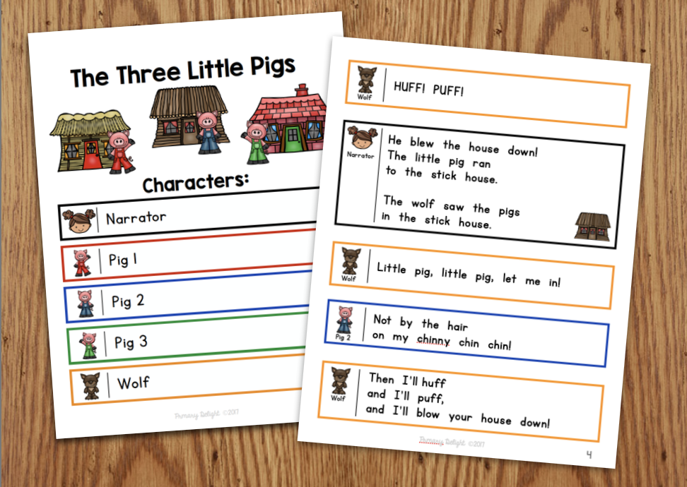 Photo of a readers' theater script for The Three Little Pigs.