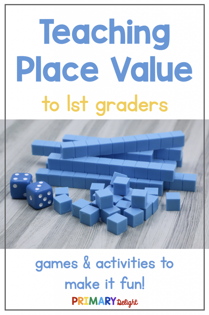 Text says: Teaching Place Value to 1st Graders. Photo shows 6 blue tens blocks and 14 ones blocks.