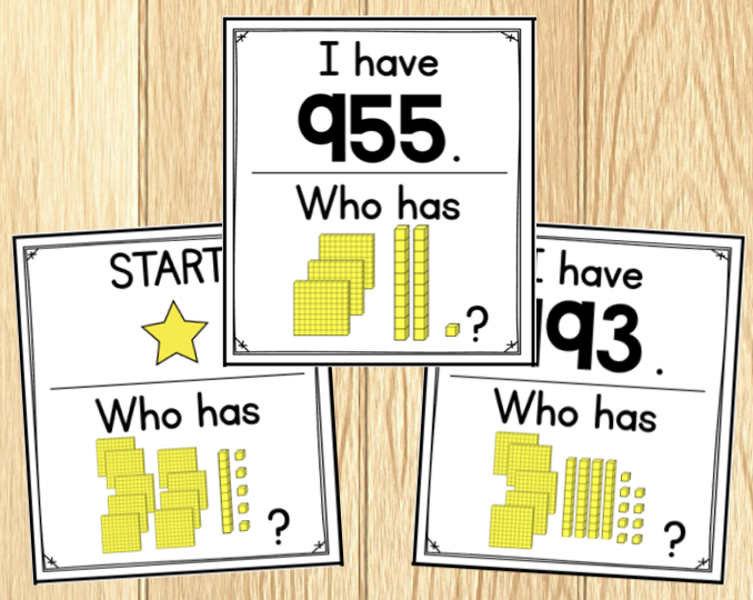 Three cards from an I Have, Who Has...? game - showing place value blocks up to 1000.