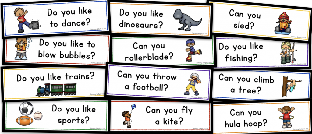 Image shows 12 question of the day cards, related to hobbies and activities.