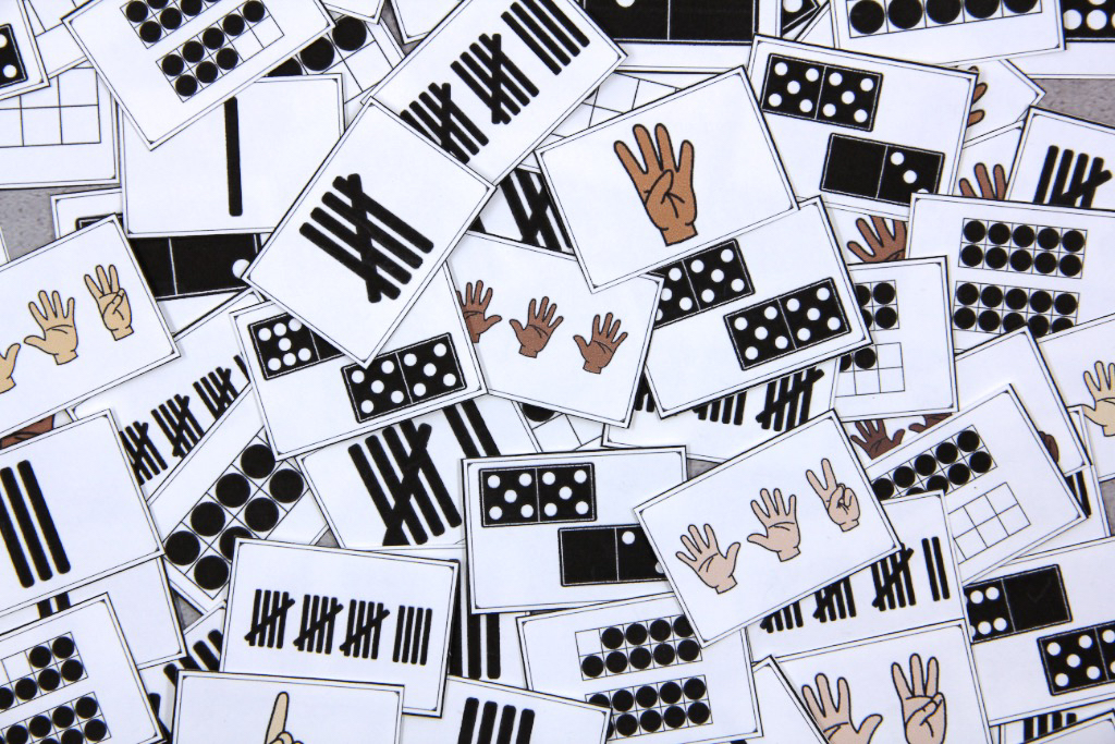 Photo of several subitizing cards that can be used for a game.