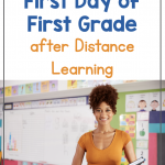 Text says: Surviving the First Day of First Grade after Distance Learning. Photo shows a young teacher standing in front of her classroom, holding books for the first day of school.