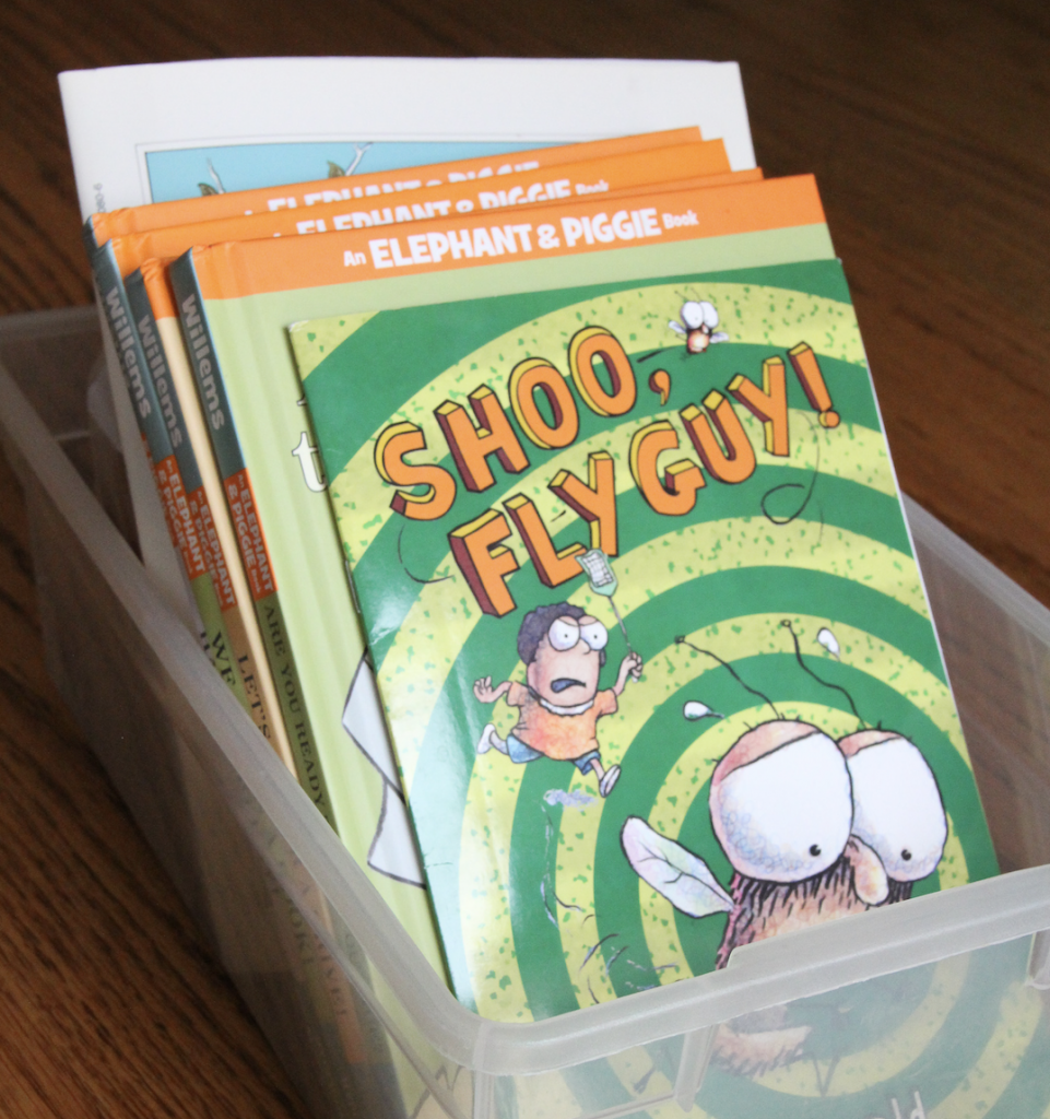 The photo shows a box of books for fun read alouds.