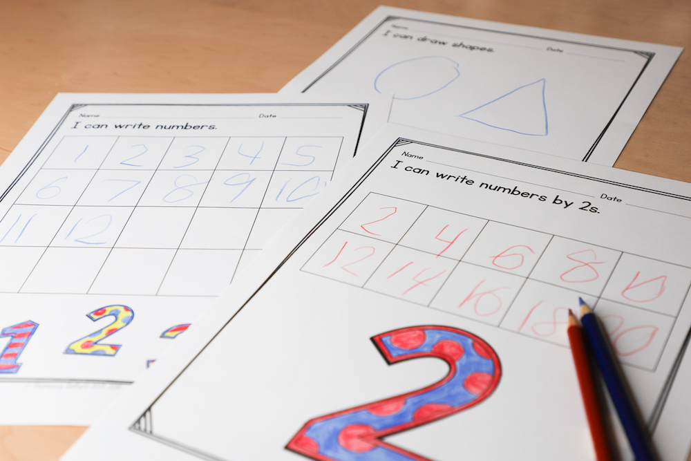 This photo shows number writing samples from a child at the beginning of the school year.