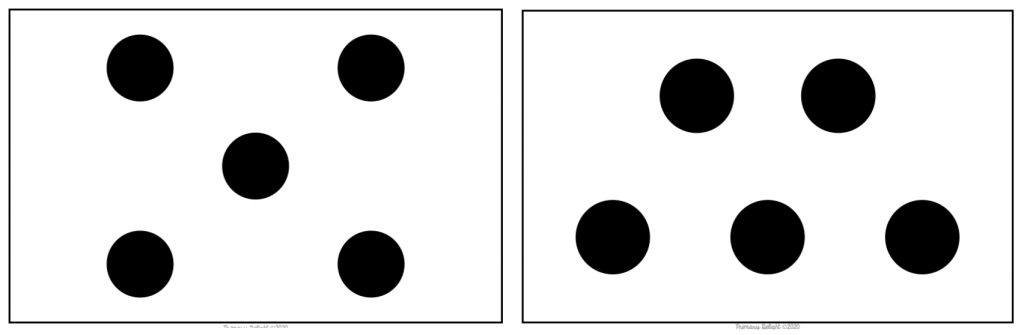 Two images of groups of 5 dots. The first looks like the dots on dice. The second shows 2 dots on top and 3 on the bottom.