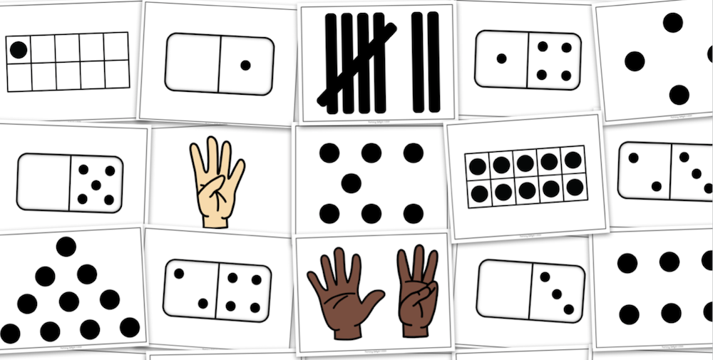 Photo of subitizing cards that can be used as Quick Images in the classroom.