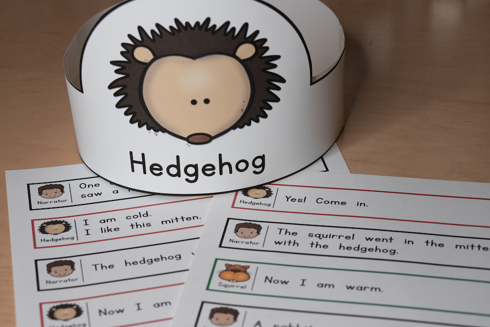 Photo of a script for Readers' Theater in 1st grade. The image also includes a headband featuring the hedgehog character.