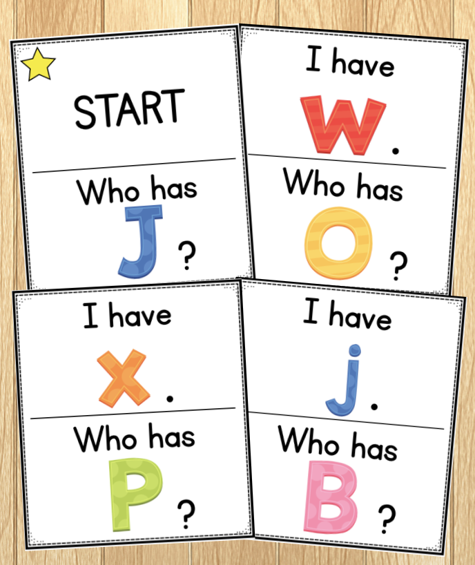 Photo of I Have... Who Has...? card game to practice letters during a morning  meeting game.