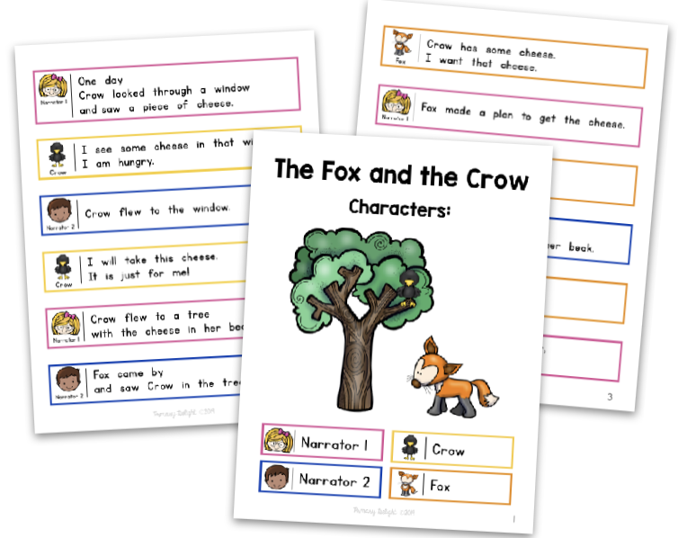 Photo shows pages from The Fox and the Crow - a free script for Reader's Theater in 1st grade.