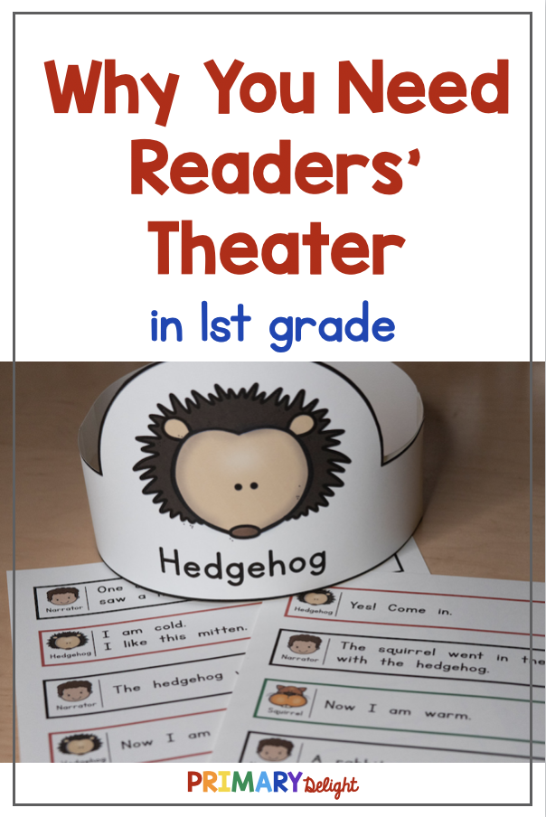 Text says: Why You Need Readers' Theater in 1st grade. Photo shows a readers' theater script with a headband for the character of Hedgehog (from The Mitten.)